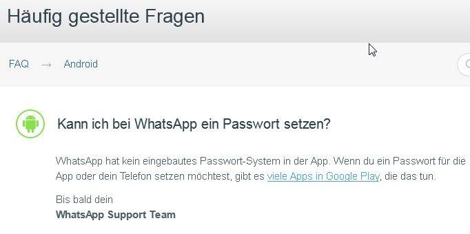 Herstellerauskunft: Es gibt kein WhatsApp-Passwort!