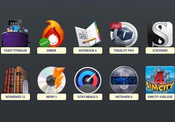 Software-Bundle für Mac mit Roxio Toast, Tonality, Scrivener, Bookends und SimCity