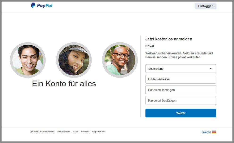 Hier erstellt ihr ein neues PayPal-Konto.
