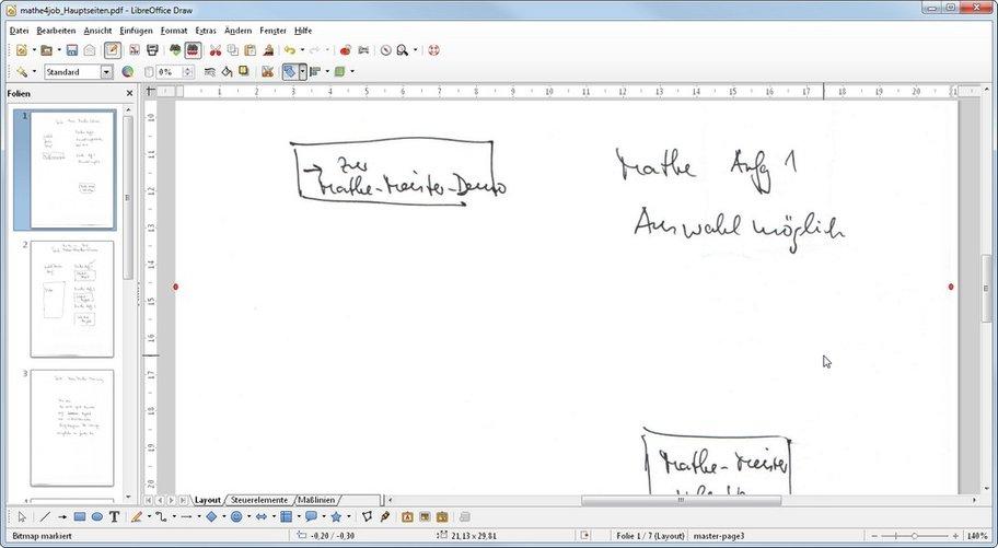 LibreOffice kann auch ein PDF ändern, das aus Grafiken besteht