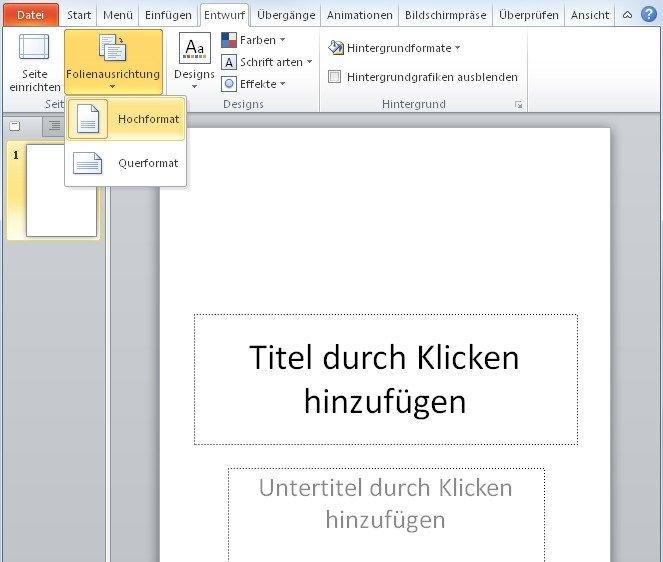 Mit einem Klick zwiesen dem PowerPoint Hochformat oder Querformat umschalten