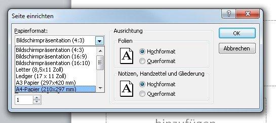 Hier stellet Ihr das PowerPoint Hochformat ein und könnt auch die Seitengröße ändern