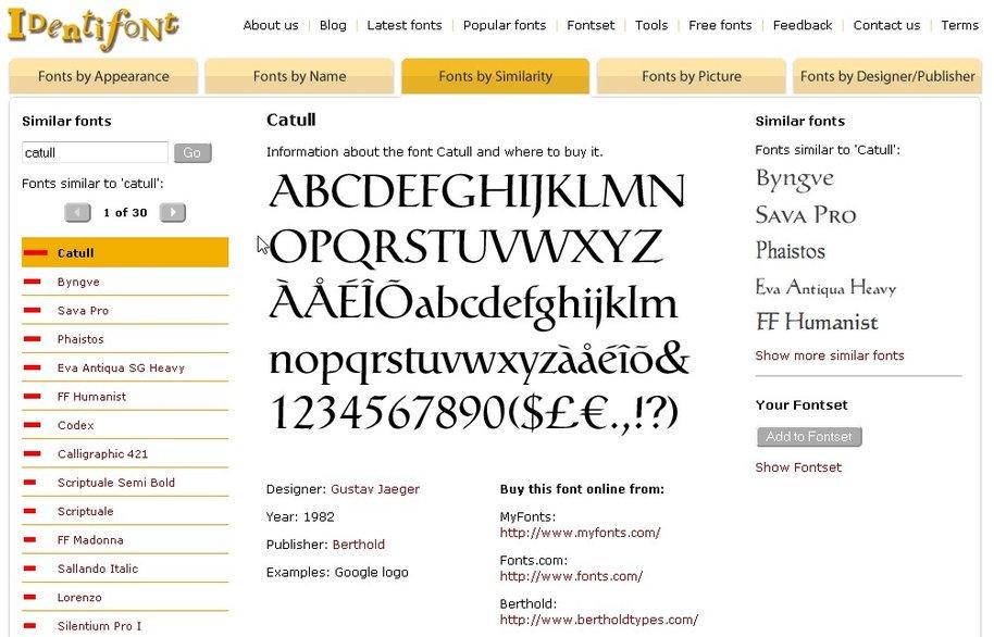 Wenn wir die Schriftart erkennen konnten, zeigt und Identifont ähnliche Fonts