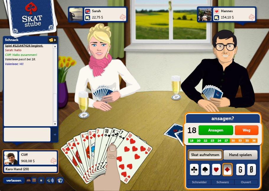 Auch in der Skatstube können wir kostenlos online Skat spielen