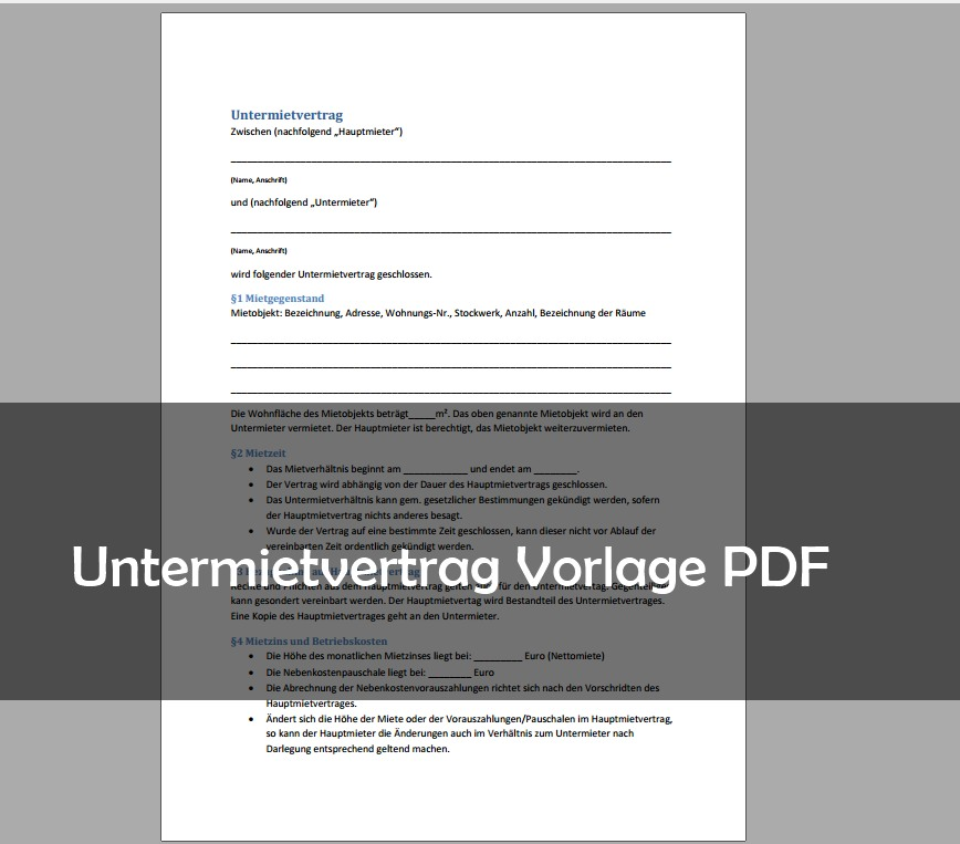 Untermietvertrag Muster Vorlage Pdf Download Giga