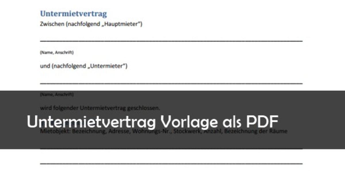 untermietvertrag muster vorlage pdf download giga - Untermietvertrag Muster Kostenlos