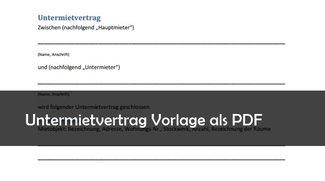 Untermietvertrag Muster Vorlage PDF