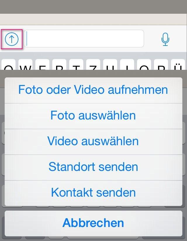 """Die WhatsApp-Kamera erreichen wir beim iPhone unter dem """"Einer-für-alles-Button"""""""