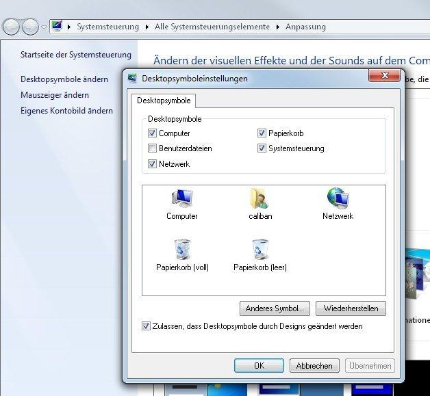 Die üblichen Windows-Icons des Desktops sind nicht festgenagelt!
