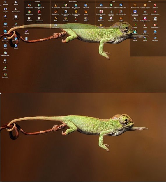 So schön aufgeräumt ist der Desktop ohne alle Windows Icons!
