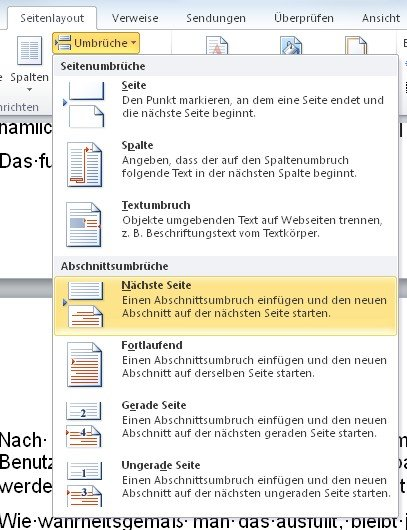 Umbrüche mit Abschnittswechsel lassen Word Einzelseiten im Querformat ausrichten