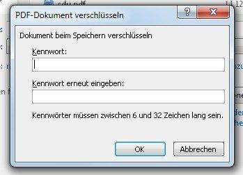 Das PDF-Passwort in Word darf bis zu 32 Zeichen haben