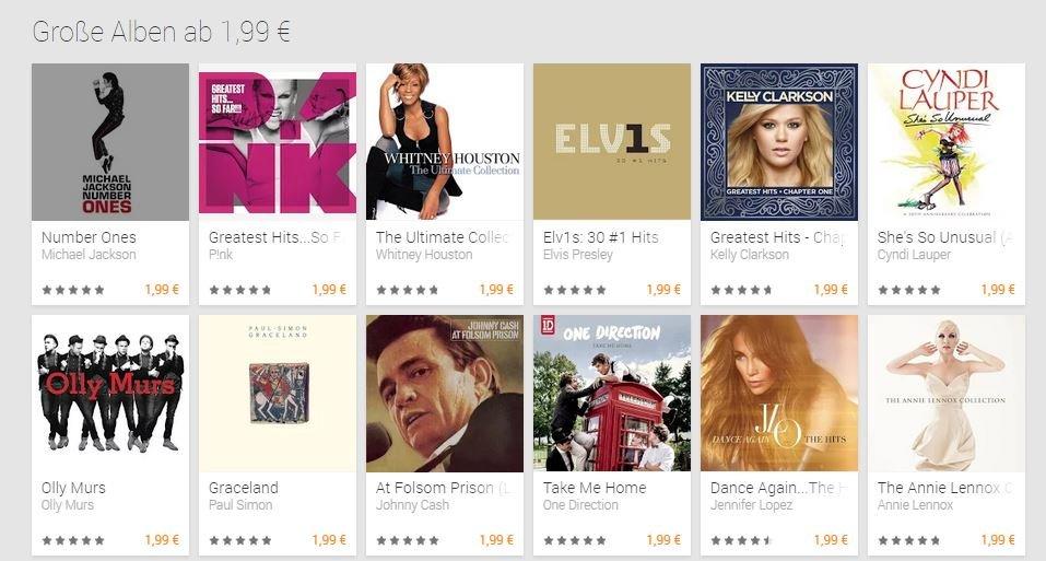 Google Play Store: Viele Musik-Alben für 1,99 Euro erhältlich