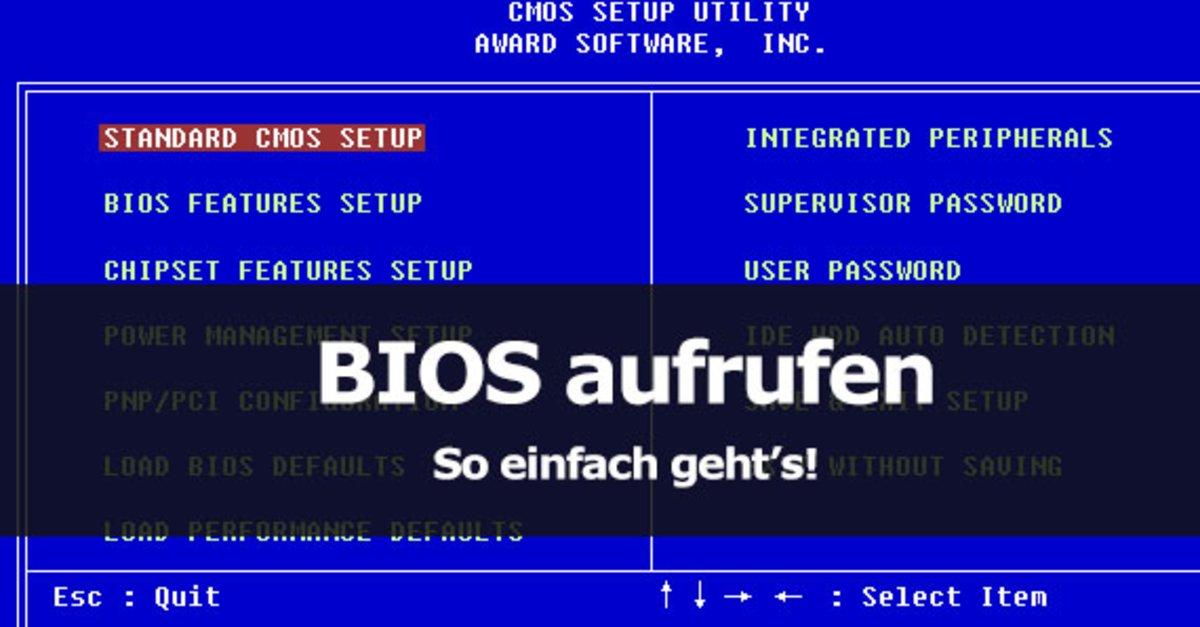 Bios Aufrufen Windows 7