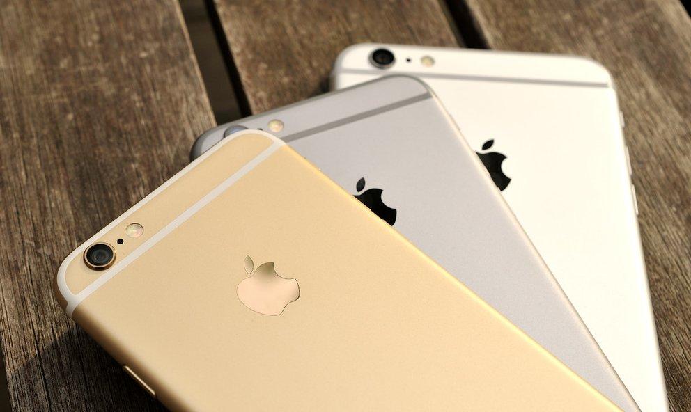 iPhone in Gold, Spacegrau und Silber (letzteres ist im Bild ein 6 Plus).