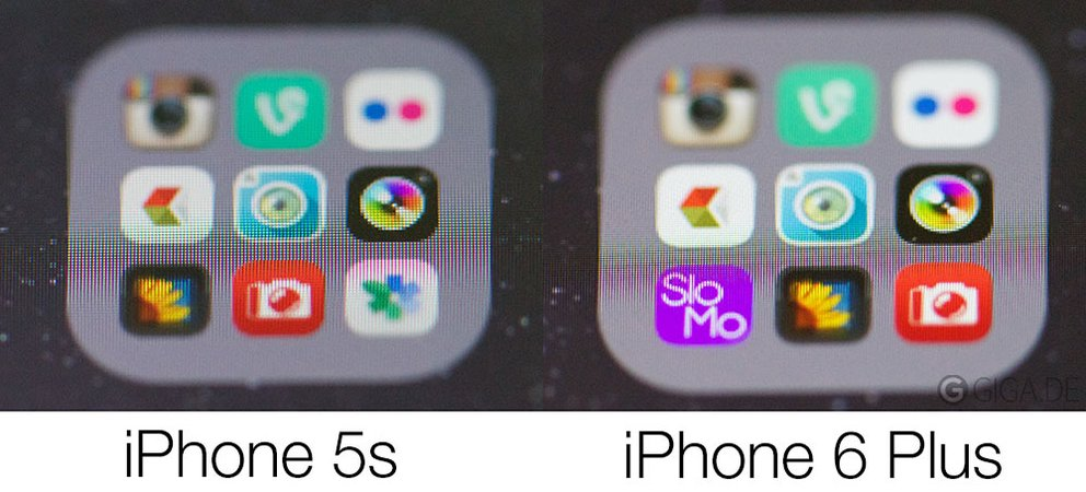 Displays im Vergleich: iPhone 5s vs iPhone 6 Plus