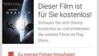 """Google Play Movies: Weltraum-Thriller """"Gravity"""" aktuell kostenlos für Nexus 5-Besitzer"""