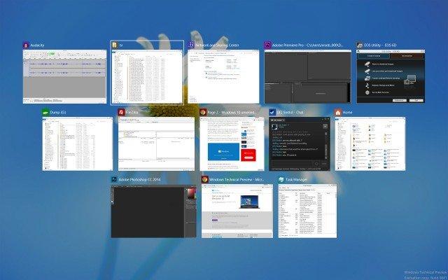 Windows 10: Der Task Switcher zeigt alle geöffneten Fenster mit Inhalt an (Quelle: extremetech)