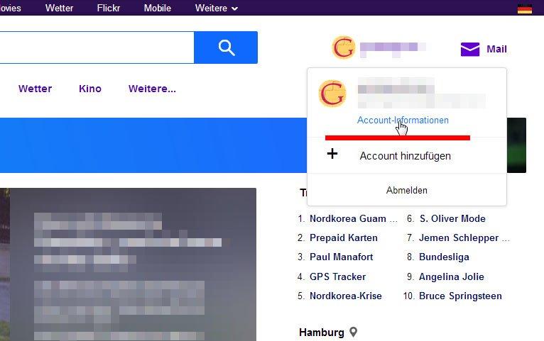 Klickt hier, um in die Yahoo-Einstellungen zu gelangen