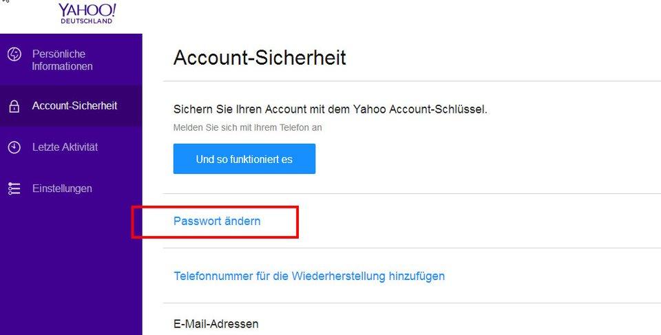 Hier ändert ihr euer Passwort