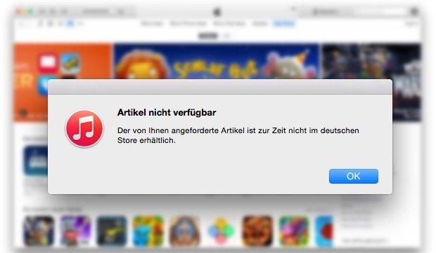 """""""Artikel nicht verfügbar"""": iTunes Store funktioniert nicht – was tun?"""