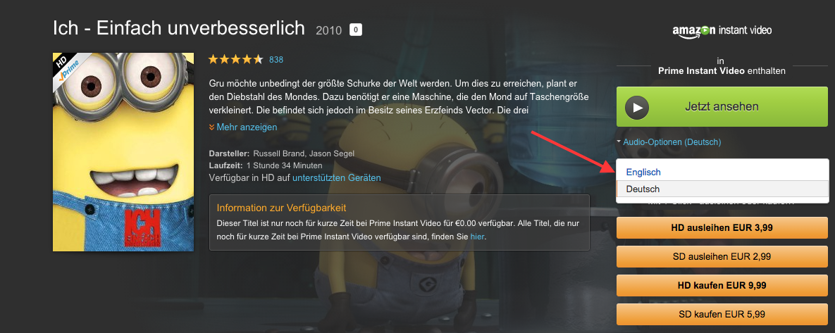 Amazon Instant Video Sprache Umstellen