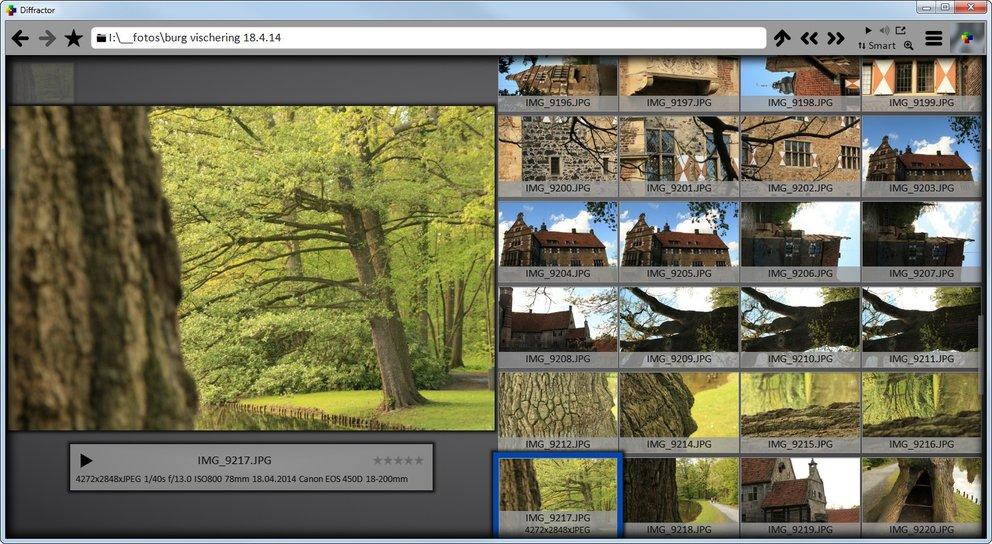 Diffractor verwaltet Bilder, Videos und Sounddateien