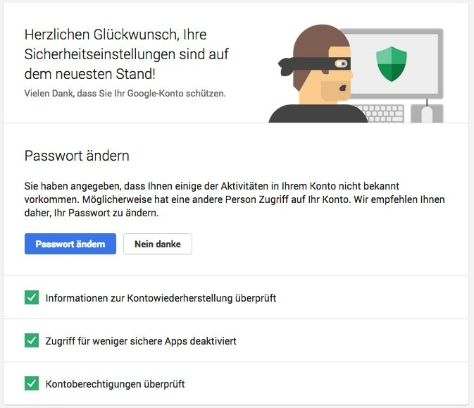 Google-Account Security-assistent