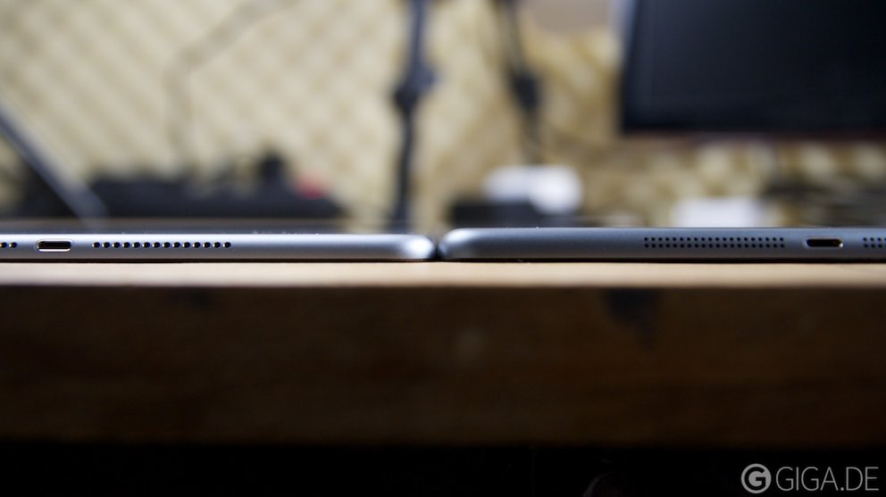 iPad Air 2 (links) vs iPad Air 1 (rechts)