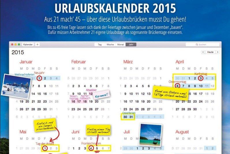 Urlaubskalender 2015: So schlimm sieht es mit den Brückentagen in 2015 gar nicht aus!
