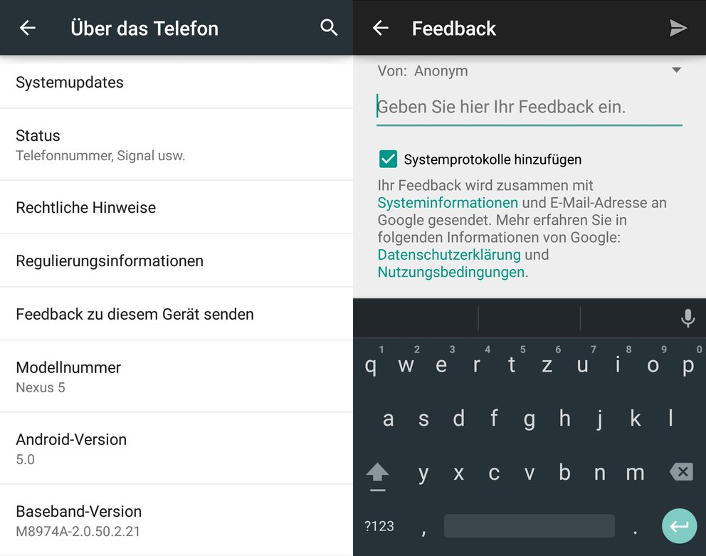 android-feedback-senden