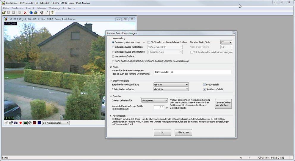 ContaCam findet die Webcam schnell