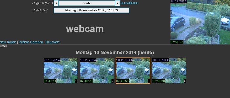 Ein Webinterface zeigt uns die Aufnahmen von ContaCam an