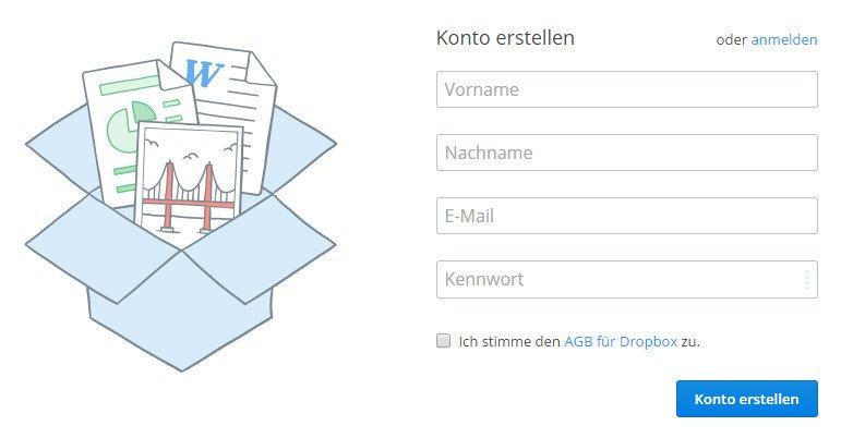 Ohne Konto könnt ihr keine eigenen Dateien bei Dropbox hochladen