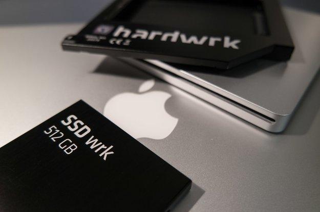 hardwrk-Adapter inklusive SSD für eine zweite Festplatte im MacBook (Pro)