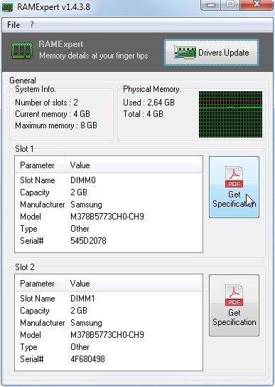RAMExpert liest die relevanten Speicher-Daten aus