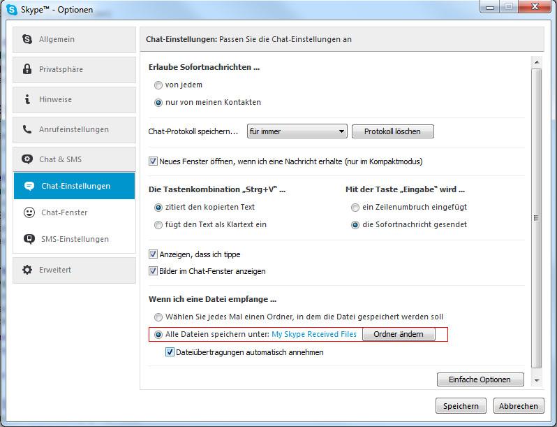 Skype empfangene bilder löschen
