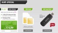 3GB LTE Internet-Flat (Telekom) + Hotspot Flat für 4,99 €/Monat