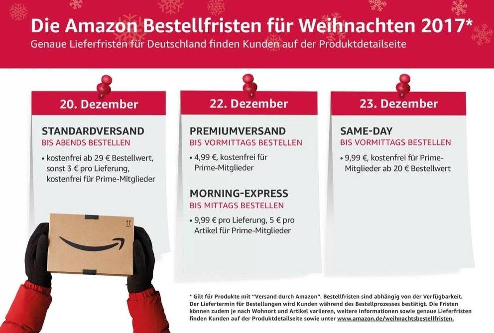 Amazon Bestellfristen Weihnachten 2017