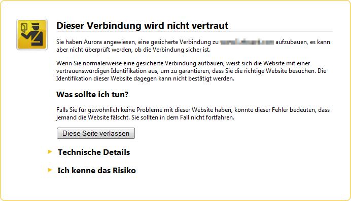"""Firefox: """"Dieser Verbindung wird nicht vertraut"""" – Lösungen und ..."""