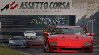 Assetto Corsa: Autoliste - Alle Lizenzfahrzeuge in der Übersicht