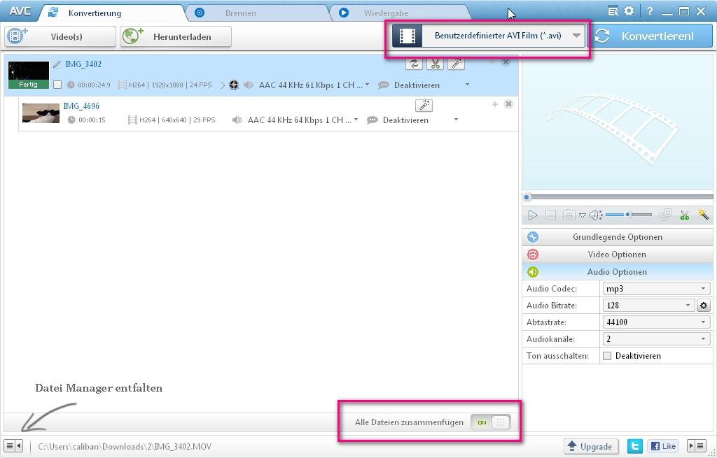AVI Dateien zusammenfügen mit Freeware-Tools – GIGA