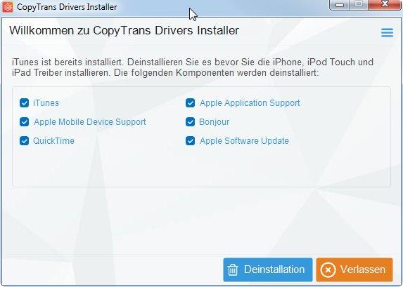 CopyTrans Drivers Installer entfernt iTunes und installiert die nötigen Treiber