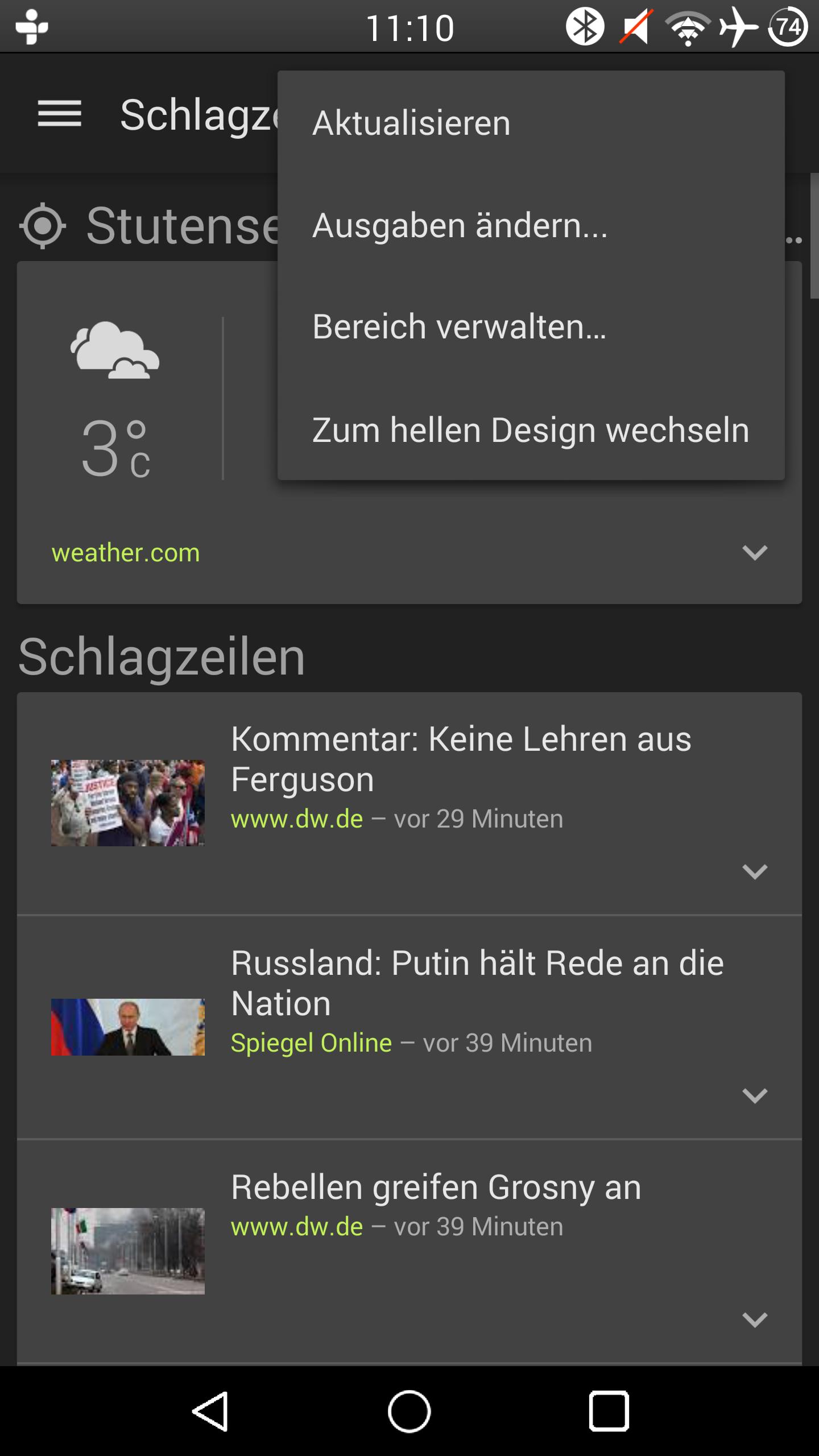 Google News Wetter Update Bringt Dunkle Oberfläche Suchfunktion
