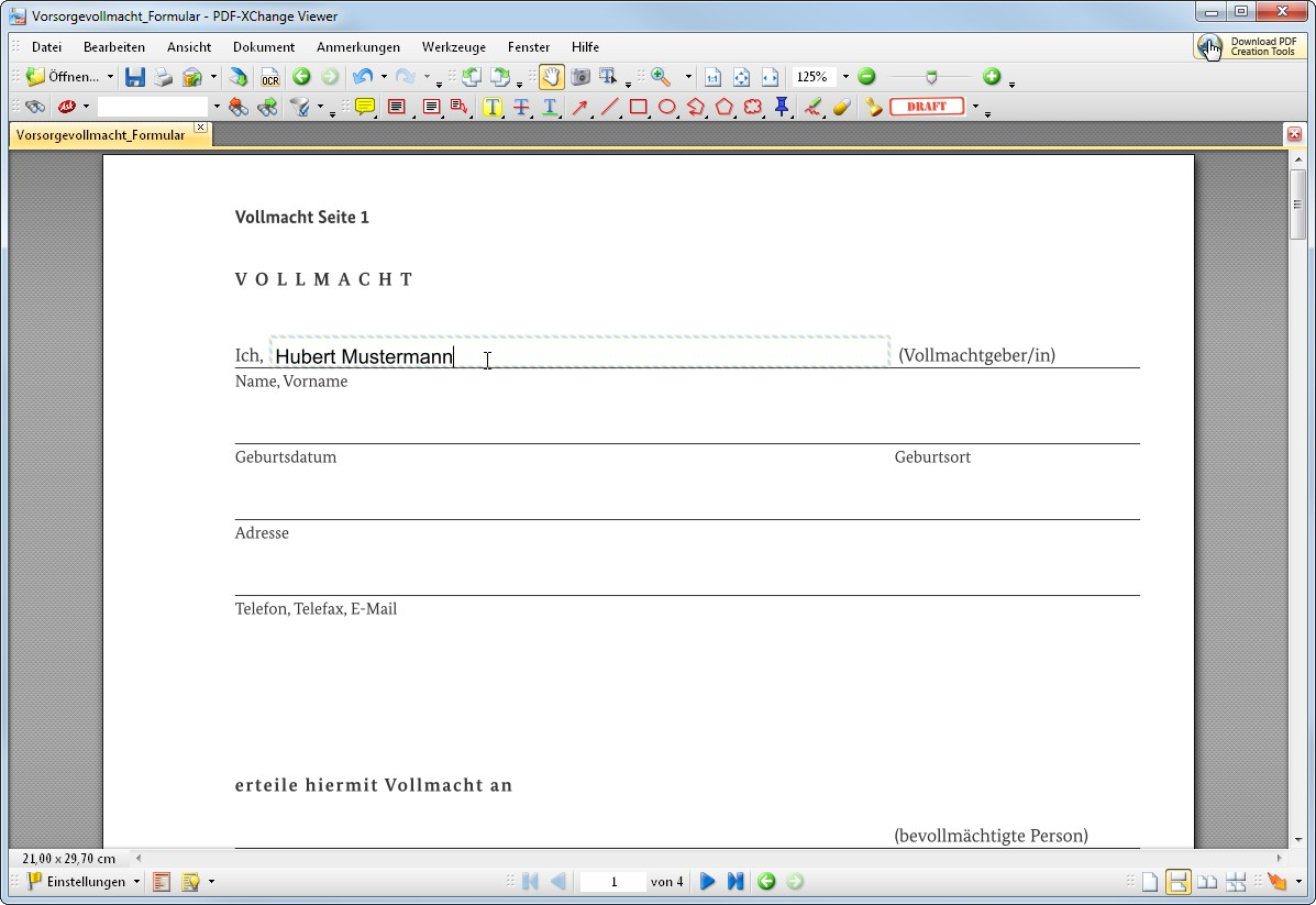 Vorsorgevollmacht Vordruck Download Giga