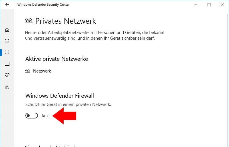 Hier deaktiviert ihr die Firewall in Windows 10