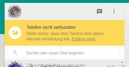 WhatsApp Web Laptop Telefon nicht verbunden