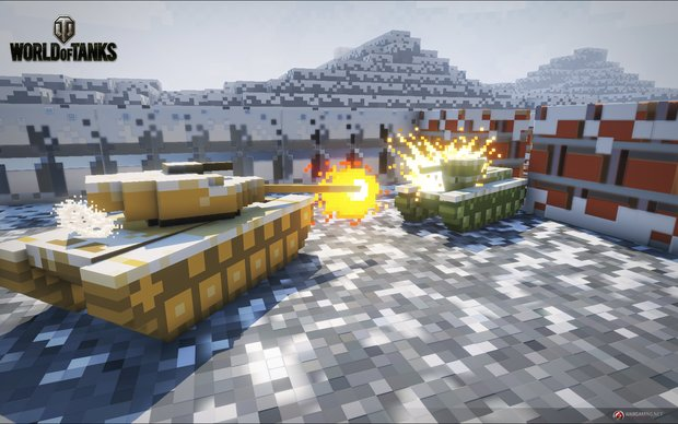 World of Tanks: 8-bit-Modus in einer Winterlandschaft