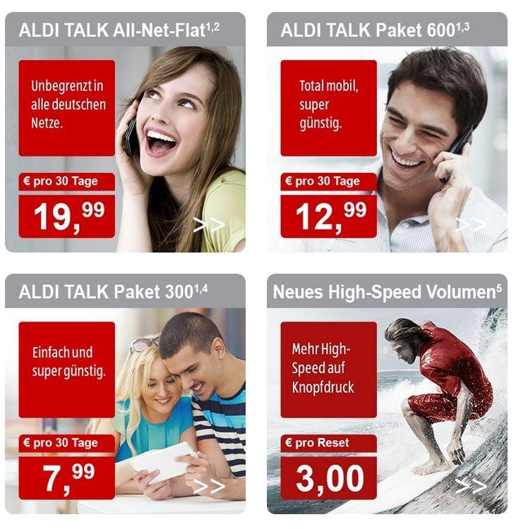 Einige Aldi-Talk-Tarife