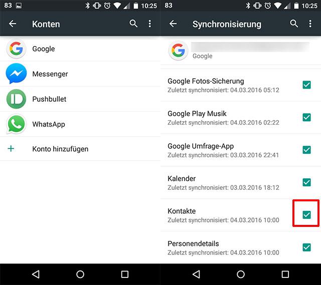 Google kontakte mit handy synchronisieren